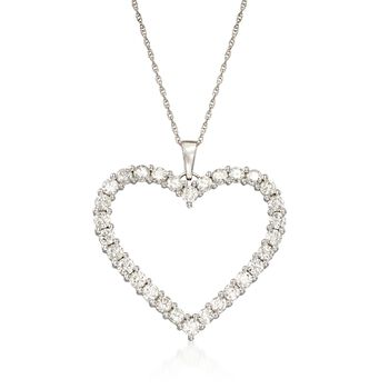 """3.00 ct. t.w. Diamond Open-Space Heart Pendant Necklace in 14kt White Gold. 18"""", , default"""