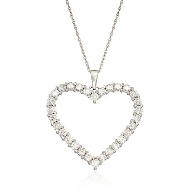 3.00 ct. t.w. Diamond Open-Space Heart Pendant Necklace in 14kt White Gold, , default