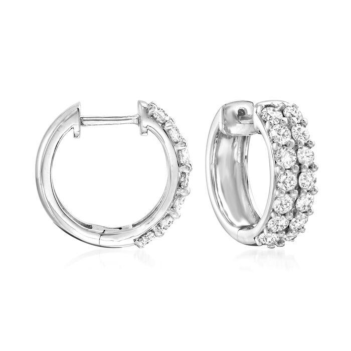 """1.00 ct. t.w. Diamond Huggie Hoop Earrings in Sterling Silver. 1/2"""", , default"""