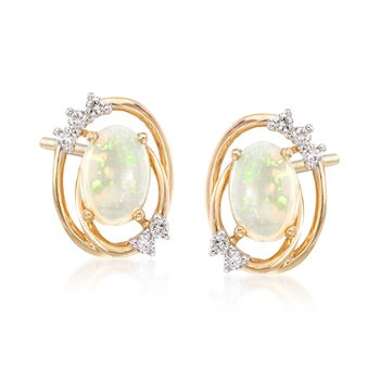 Opal and .12 ct. t.w. Diamond Frame Stud Earrings in 14kt Yellow Gold , , default