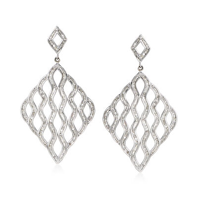 1.95 ct. t.w. Diamond Wavy Open-Space Drop Earrings, , default