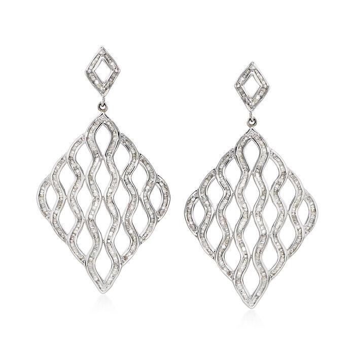 1.95 ct. t.w. Diamond Wavy Open-Space Drop Earrings, , default