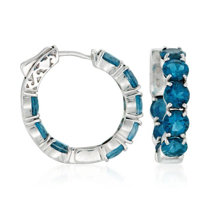 """9.50 ct. t.w. London Blue Topaz Inside-Outside Hoop Earrings in Sterling Silver. 3/4"""", , default"""