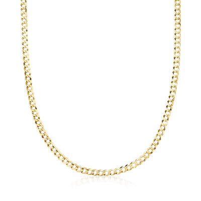 Men's 4.7mm 14kt Yellow Gold Faceted Curb-Link Chain Necklace, , default