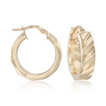 "Italian 14kt Yellow Gold Ribbed Hoop Earrings. 3/4"", , default"