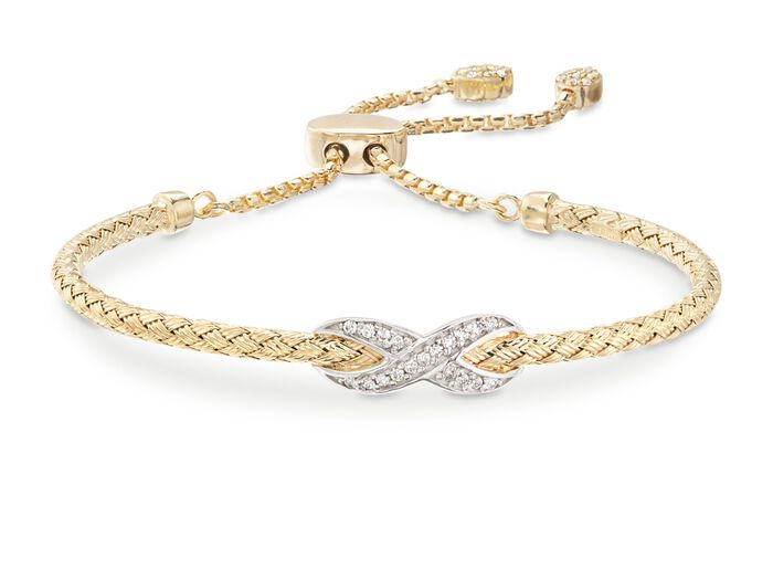 "Charles Garnier ""Infinity"" .50 ct. t.w. CZ Bolo Bracelet in Two-Tone Sterling Silver"