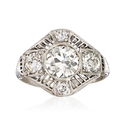 C. 1940 Vintage 2.07 ct. t.w. Diamond Filigree Ring in Platinum, , default