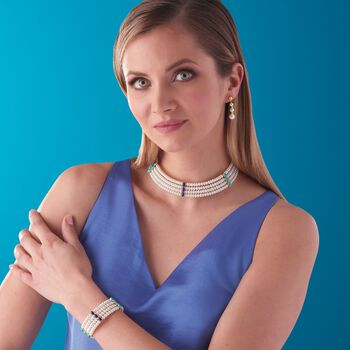 """4.5-5mm Cultured Pearl with Turquoise and Lapis Cuff Bracelet in 14kt Yellow Gold and Sterling Silver. 7.5"""", , default"""