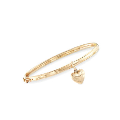 Child's 14kt Yellow Gold Heart Charm Bangle Bracelet, , default