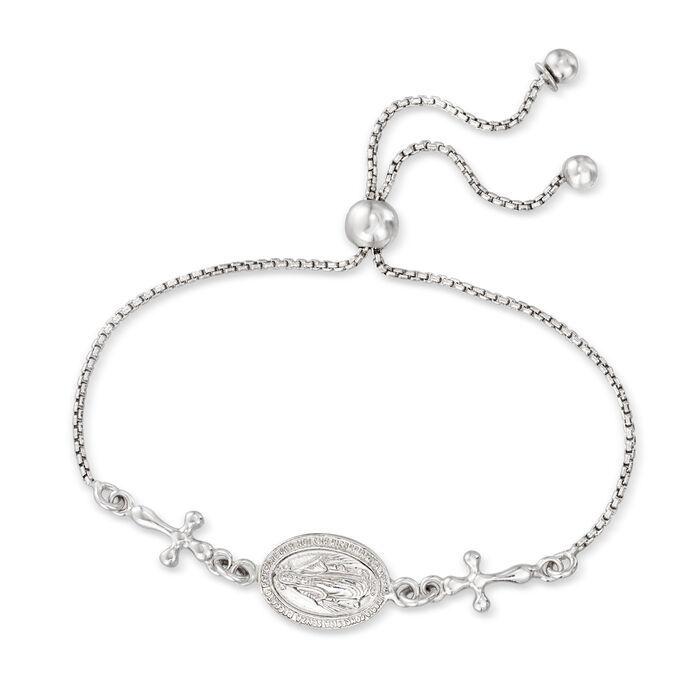 Italian Sterling Silver Miraculous Medal Bolo Bracelet