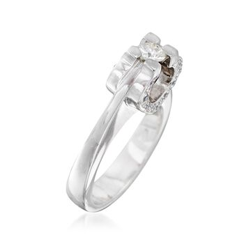 C. 2000 Vintage .33 ct. t.w. Diamond Open-Space Heart Ring in 18kt White Gold. Size 3.75, , default