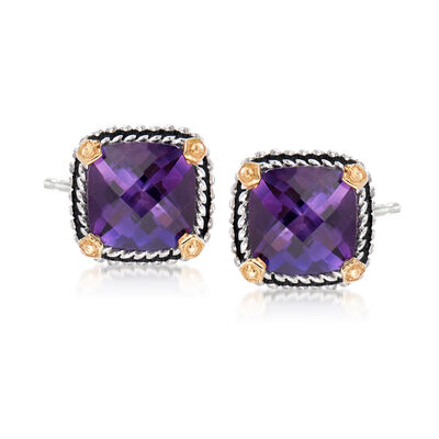 3.90 ct. t.w. Amethyst Stud Earrings in Sterling Silver and 14kt Gold