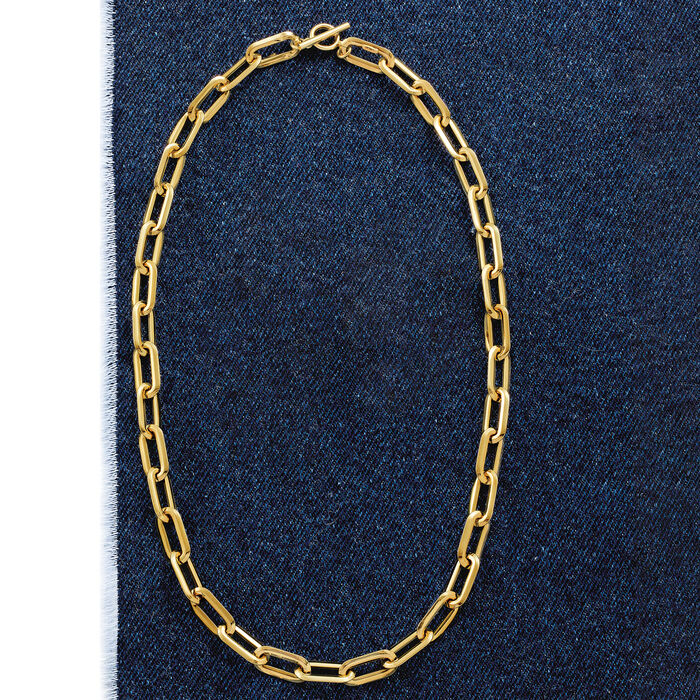 Italian 18kt Yellow Paper Clip Link Necklace