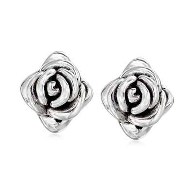 Sterling Silver Flower Stud Earrings, , default