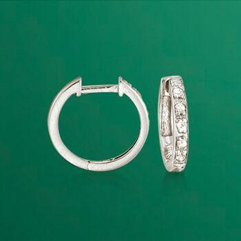 "Diamond Accent Huggie Hoop Earrings in 14kt White Gold. 3/8"", , default"