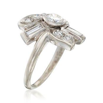 C. 1950 Vintage .78 ct. t.w. Diamond Multi-Shape Ring in Platinum. Size 3.5, , default