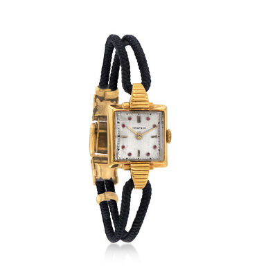 C. 1930 Vintage Tiffany Jewelry 14kt Yellow Gold and Black Cord Watch With Simulated Rubies, , default