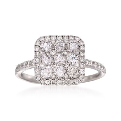 1.35 ct. t.w. Diamond Square-Top Ring in 18kt White Gold, , default