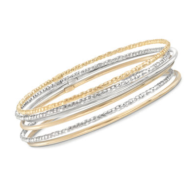 Two-Tone Sterling Silver Jewelry Set: Six Bangle Bracelets, , default