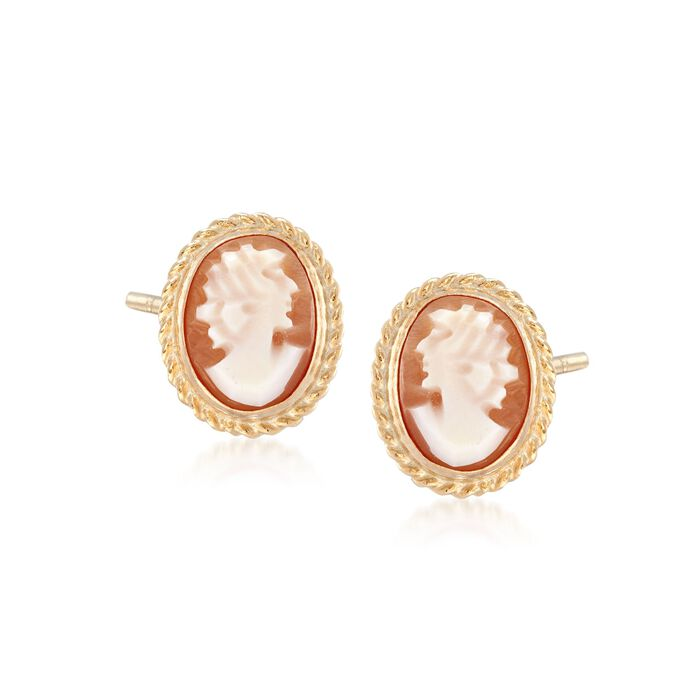 Oval Shell Cameo Earrings in 14kt Yellow Gold, , default