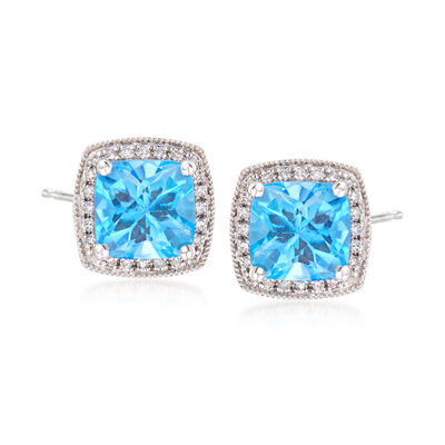 3.30 ct. t.w. Blue Topaz and Diamond Post Earrings in 14kt White Gold