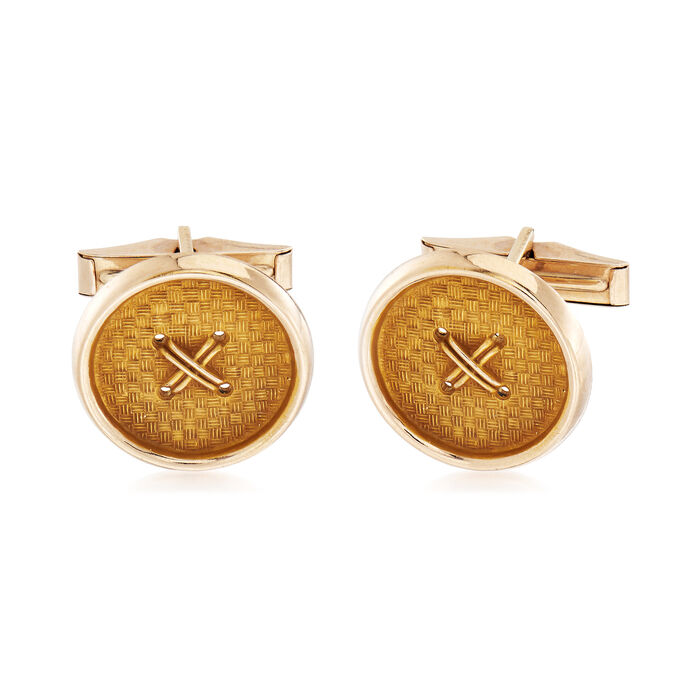 C. 1990 Vintage Button Cuff Links in 14kt Yellow Gold, , default