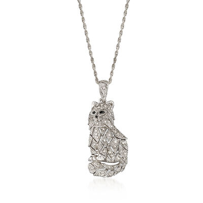 .15 ct. t.w. Black and White Diamond Cat Pendant Necklace in Sterling Silver, , default