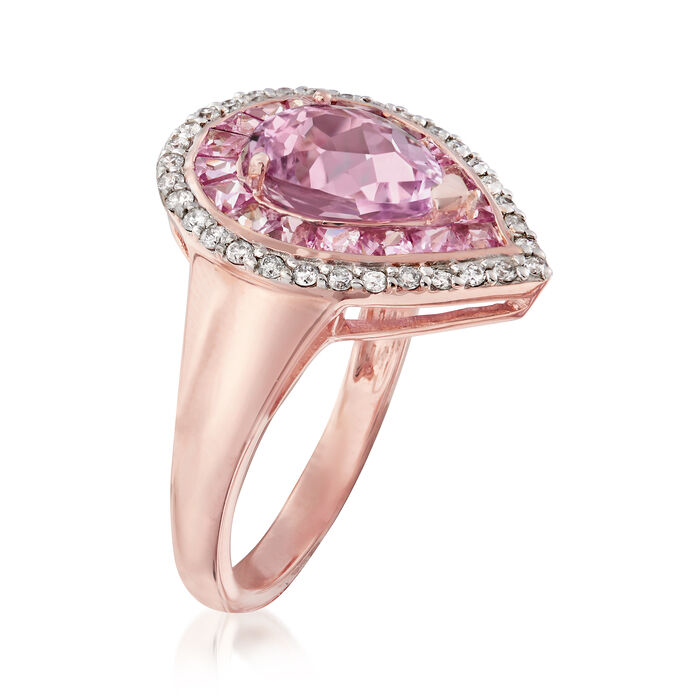 2.30 Carat Kunzite and 1.10 ct. t.w. Pink Sapphire Ring with .25 ct. t.w. Diamonds in 14kt Rose Gold