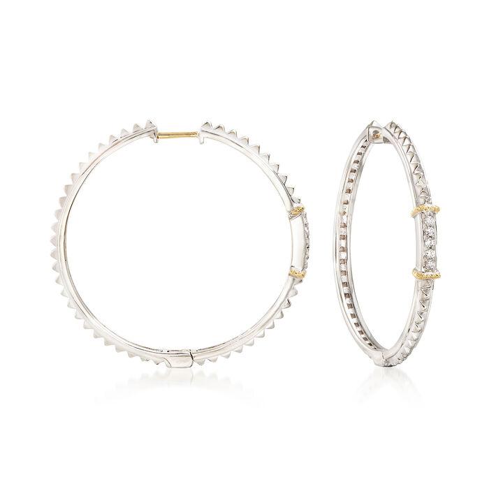 """Andrea Candela """"La Romana"""" .14 ct. t.w. Diamond Hoop Earrings in Sterling Silver and 18kt Gold. 1 3/8"""", , default"""