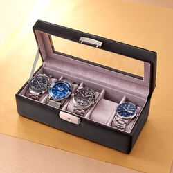 Monogrammed Leather Watch Box, , default