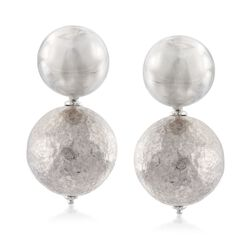 Italian Sterling Silver Dome Post  Drop Earrings , , default