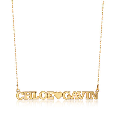 Couple's Monogram Name Necklace in 14kt Yellow Gold, , default