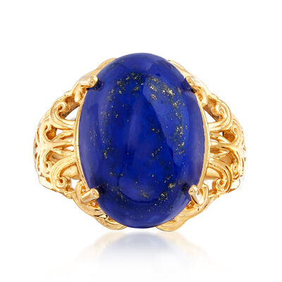 Lapis Open-Space Scrollwork Ring in 18kt Gold Over Sterling