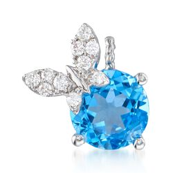 2.20 Carat Blue Topaz and .12 ct. t.w. Diamond Butterfly Pendant in 14kt White Gold, , default