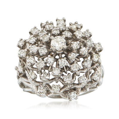 C. 1970 Vintage 1.50 ct. t.w. Diamond Cluster Ring in 14kt White Gold, , default