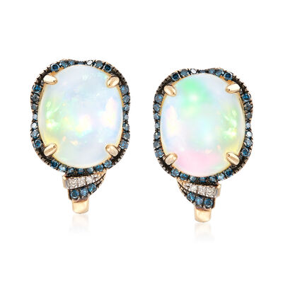 Ethiopian Opal and .37 ct. t.w. Blue and White Diamond Earrings in 14kt Yellow Gold, , default