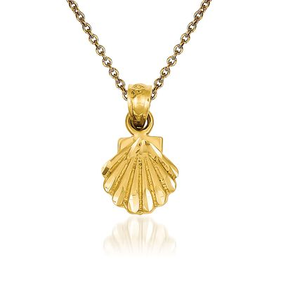 14kt Yellow Gold Scallop Shell Pendant Necklace, , default