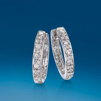 Diamond Accent Huggie Hoop Earrings in 14kt White Gold. 3/8""