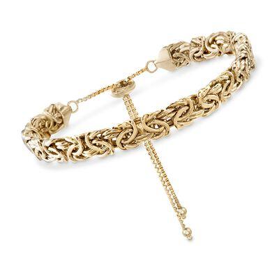 18kt Gold Over Sterling Silver Byzantine Bolo Bracelet, , default