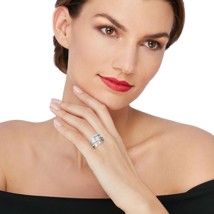 3.65 ct. t.w. Diamond Three-Row Crisscross Ring in 18kt White Gold