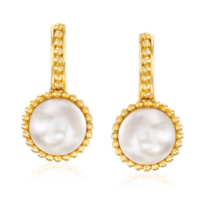 9.5-10mm Cultured Pearl Drop Earrings in 18kt Gold Over Sterling, , default