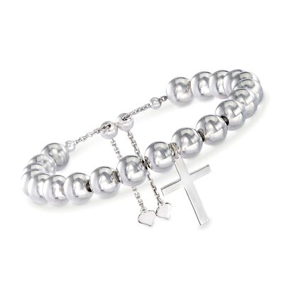 Sterling Silver Cross Charm and Bead Bolo Bracelet, , default