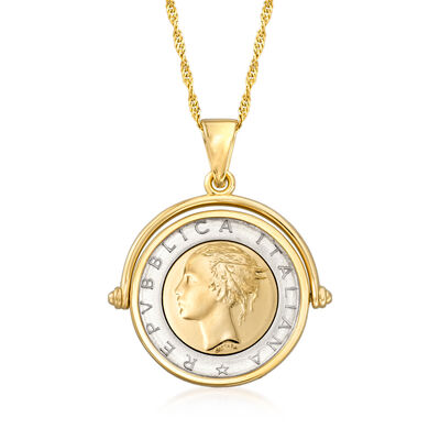 Genuine Lira Coin Necklace in 18kt Gold Over Sterling from Italy