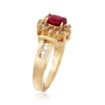 C. 1980 Vintage .50 Carat Ruby and .25 ct. t.w. Diamond Ring in 14kt Yellow Gold. Size 5.5, , default