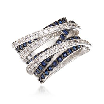 2.70 ct. t.w. Sapphire and .72 ct. t.w. White Topaz Highway Ring in Sterling Silver. Size 7, , default
