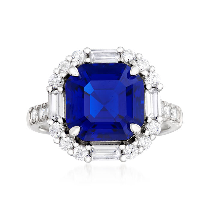 5.00 Carat Simulated Sapphire and 1.00 ct. t.w. CZ Ring in Sterling Silver