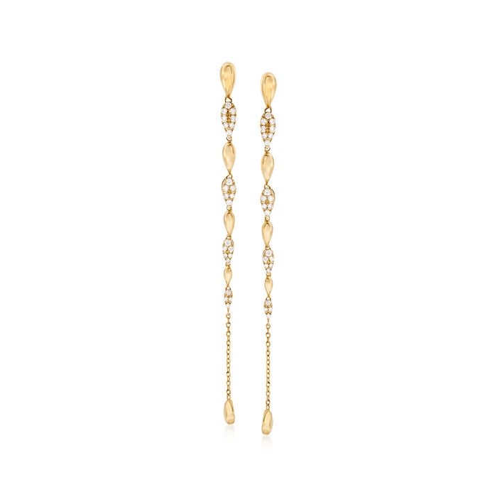 .24 ct. t.w. Pave Diamond Drop Earrings in 14kt Yellow Gold, , default
