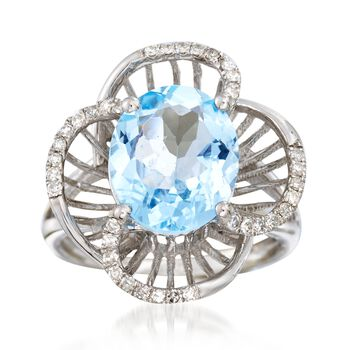 4.50 Carat Blue Topaz and .22 ct. t.w. Diamond Floral Ring in 14kt White Gold, , default