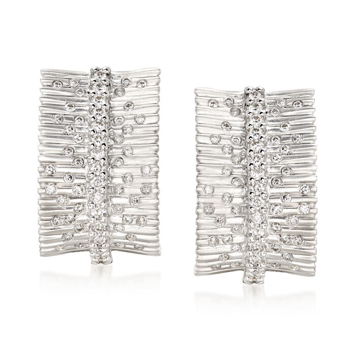 .77 ct. t.w. Diamond Bar and Burst Earrings in 14kt White Gold , , default