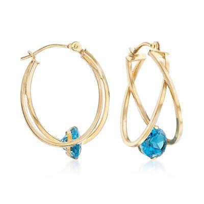 2.00 ct. t.w. Blue Topaz Crisscross Double Hoop Earrings in 14kt Yellow Gold, , default